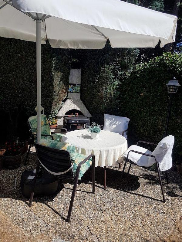 Gartensitzgruppe 11 Teilig 4 Stuhle 4 Sitzkissen 1 Runder Tisch