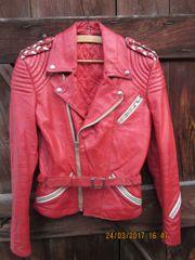 schicke rote Motorradlederjacke Gr 36