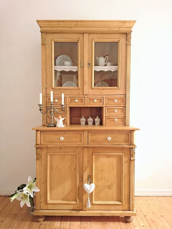 edle vitrine shabby k chen buffet antik bauern schrank repro weichholzschrank anrichte vertiko. Black Bedroom Furniture Sets. Home Design Ideas