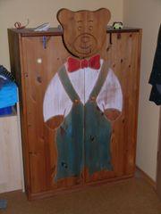 Kinderkleiderschrank Bär Echtholz