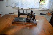 Antik Vogel Tisch-Nähmaschine mit Handkurbel