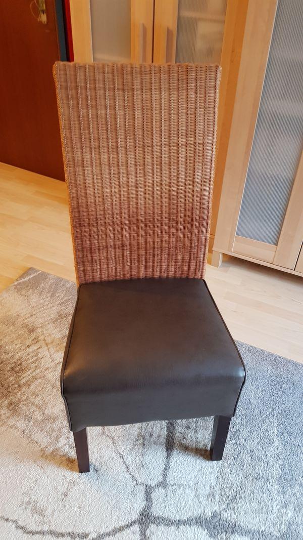 6x Esszimmer Stühle Hochlehner Rattankunstleder Dunkelbraun In