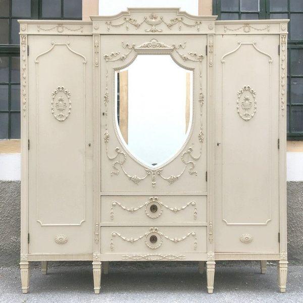 kleiderschrank creme wei mit spiegel gro er. Black Bedroom Furniture Sets. Home Design Ideas