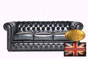 Antikblaues Leder Chesterfield Sofa Brighton