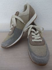 f7aa03399f1942 Paul Green Damen Schnür Schuhe Sneaker grau gold beige 4336-077 Gr. 39 UK 6