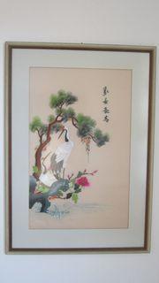 4 japanische Stickerei Bilder Handarbeit