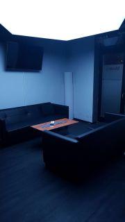 Schwarze Ledercouch/ Sofa