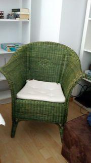 Grüner Rattan Sessel