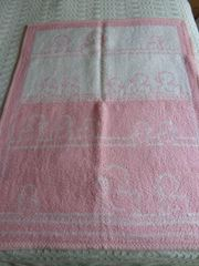 Babydecke Wolldecke rosa weiß mit