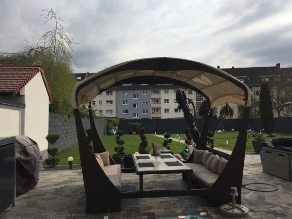 Rattan XXL Sonneninsel Lounge set Sitzgruppe Gartenmöbel in