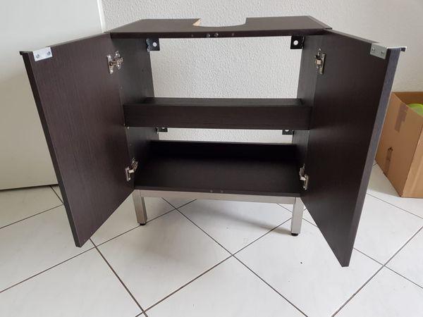 Moderner IKEA Waschbeckenunterschrank Schwarz Braun
