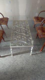 Couchtisch mit Glasplatte Metallgestell weiss