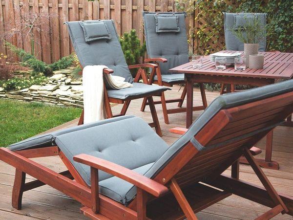 Gartenliege holz mit auflage  Gartenliege Holz mit Auflage graphit rollbar TOSCANA. Beliani in ...