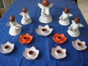 Weihnachten Kerzenhalter Keramik Engel und