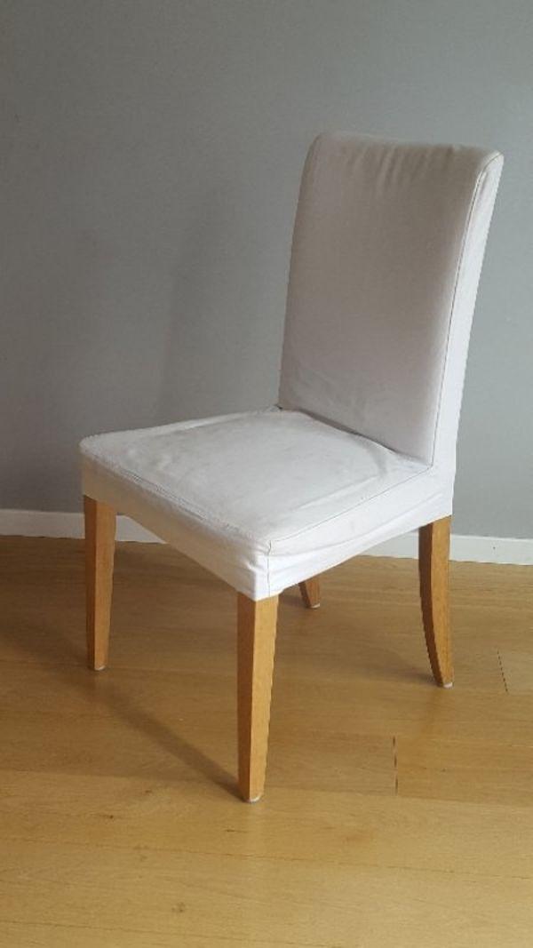 4 X IKEA HENRIKSDAL STÜHLE MIT WEIßEM BEZUG - Mannheim Fahrlach - Bezug aus 100% Baumwolle, bei 60 Grad waschbar. Stühle tlw. von der alten Serie, superstabil mit Federn, nicht die neue Billige Variante mit Riemen. Alle im sehr guten Zustand. Preis für alle 4 St0hle zusammen. Wenn Sie weniger brauc - Mannheim Fahrlach