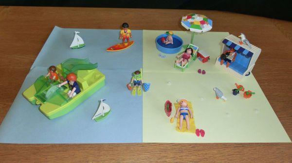 Playmobil Urlaub am Meer (Tretboot, Strandkorb, . . . ) - Poing - playmobil 3660 (Strandkorb, 2 Personen, Zubehör), playmobil 3656 (Tretboot, 2 Personen, Hund, Zubehör), playmobil 4864 (Planschbecken, 2 Personen, Sonnenschirm, Liegestuhl, Zubehör), playmobil 4695 Urlauberin, playmobil 4637 Surfer (alles volls - Poing
