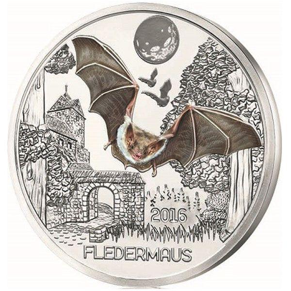 3 Eur Tier Taler Fledermaus Münze österreich Serie Nachtaktive