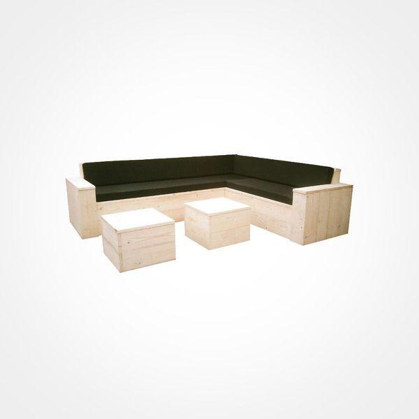 Loungesofa aus Holz, Ecksofa aus Lärche, Gartensofa, Gartenmöbel in ...