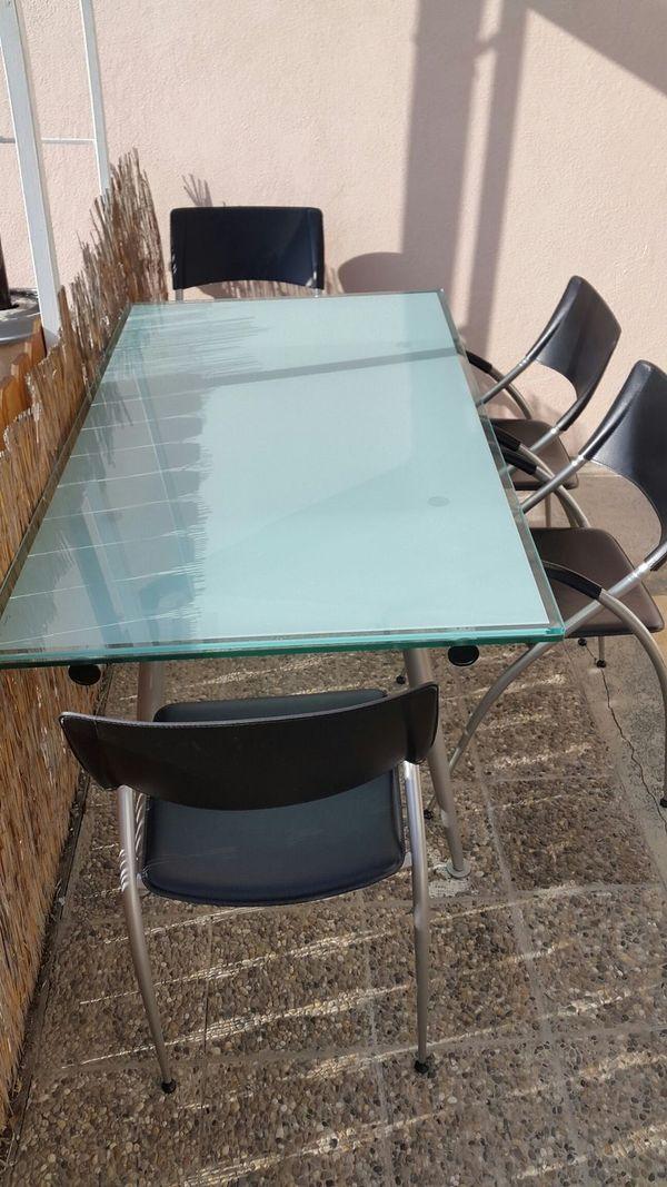 Esszimmer Glastisch 4 Leder Stuhle In Bad Kreuznach Speisezimmer