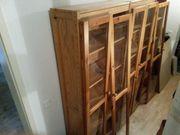 Naturholz-Bücherschrank mit Glastüren