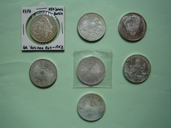 7 X Verschiedene 10 Dm Gedenkmünzen Silber Münzen 625er Silber In