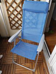 Alu Garten- Campingstuhl blau hellgrau