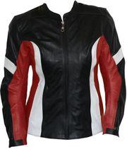 Damen Motorradjacke Rindsleder schwarz rot