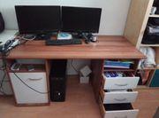 Schreibtisch weiß- kernnnussbaum