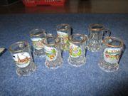 Sammler Gläser und Krügle zu