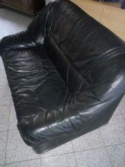 Ledercouch schwarz 2er