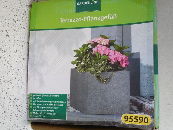 blumentopfe fur den garten, 3 terrazzo blumentöpfe pflanzgefäße grau 37 x 37 cm, höhe 32 cm von, Design ideen