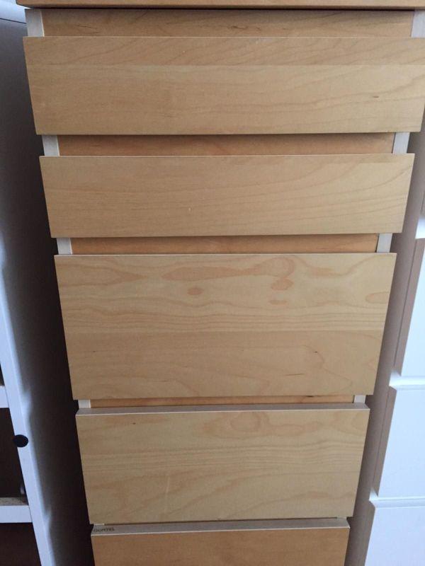 Ikea Malm Schrank Kommode Birke Mit 6 Schubladen Spiegel 40 Cm In