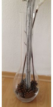 Vase Glas Bodenvase Deko Blumenvase