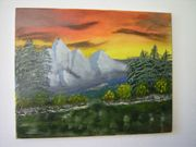 Handgemaltes Öl-Gemälde Abendrot am Fluss